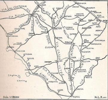 rete viaria romana nell'Italia centrale