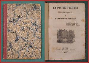 Copertina del poemetto di Bartolomeo Sestini Pia de' Tolomei, Milano 1848