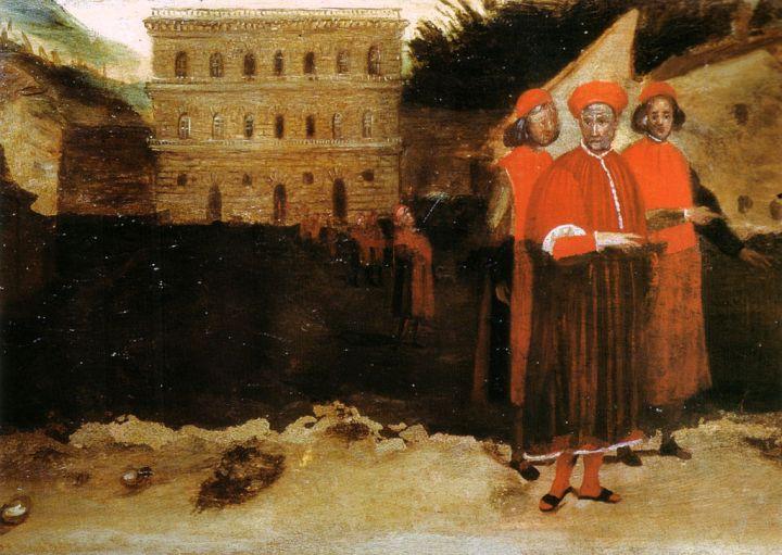 Palazzo Pitti e Luca Pitti, particolare da un affresco nella chiesa di Santo Spirito a Firenze