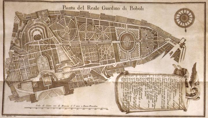 Il giardino di Boboli in una pianta del XVIII secolo