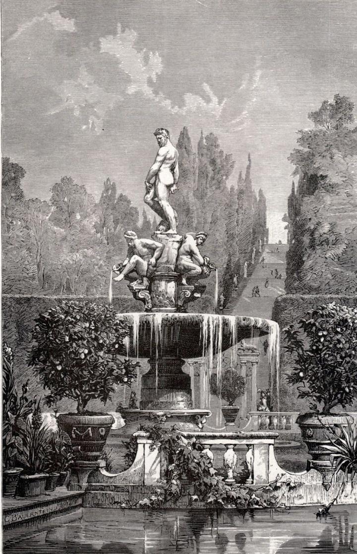 Giardino di Boboli raffigurazione della Fontana dell'Oceano in un'incisione del XX secolo