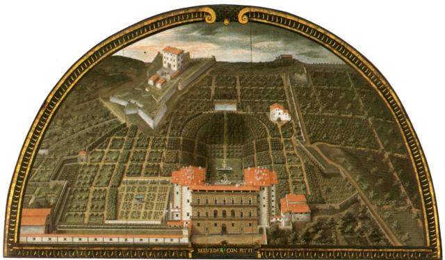 La lunetta di Giusto Utens del 1599 circa, raffigura il Forte e Palazzo pitto con l'annesso giardino