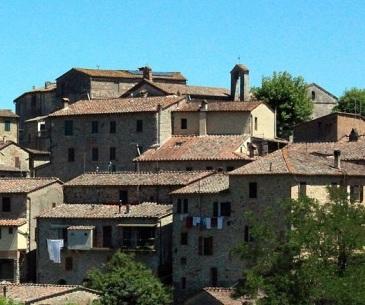 San Lorenzo a Merse, panorama con la torre campanaria della Pieve