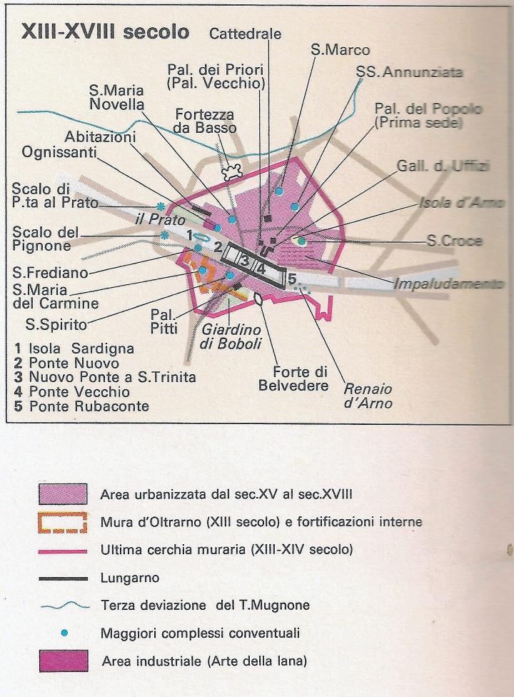 Pianta di Firenze XII-XVIII secolo