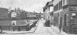 1895 - Vettura su rotaie trainata da cavalli in procinto di attraversare Ponte alle Grazie