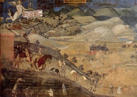 Ambrogio Lorenzetti Le conseguenze del buon governo in città e in campagna , Siena , 1337 circa