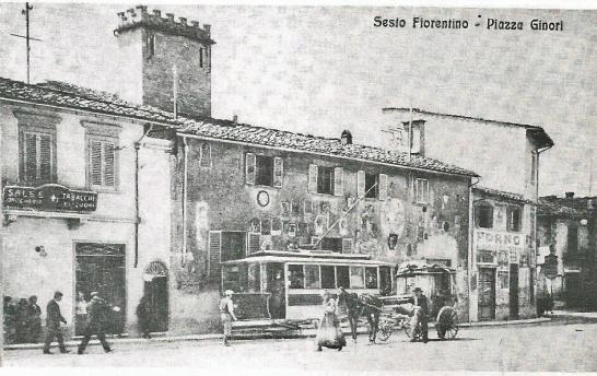 1910 - Sesto Fiorentino, Piazza Ginori capolinea della tranvia per Firenze