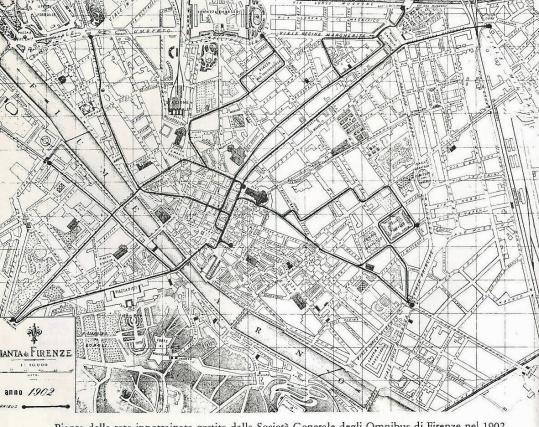 1902 - Pianta della città con i percorsi della tranvia ippotrainata