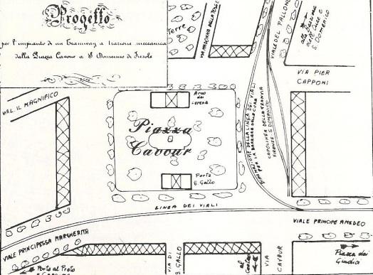 1884 Piazza Cavour, progetto del capolinea della tranvia Firenze - San Domenico