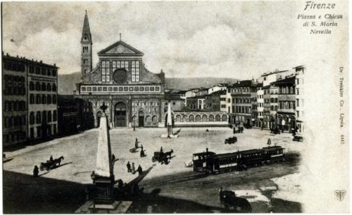 Piazza Santa Maria Novella -Capolinea_s della tramvia a vapore per Campi (fine Ottocento