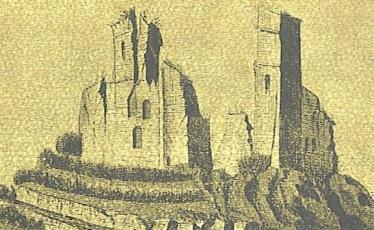 Crevole, la rocca in un disegno del XVIII secolo