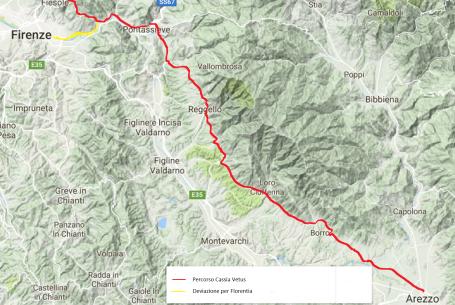 Percorso Cassia vetus fra Arezzo e Firenze