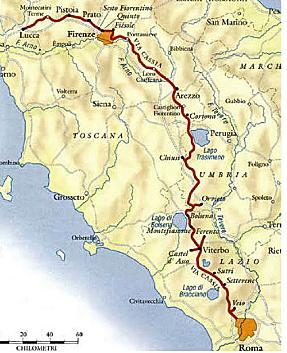 Intero percorso della via Cassia vetus