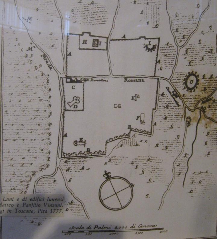 Museo di Luni, antica pianta degli scavi della città