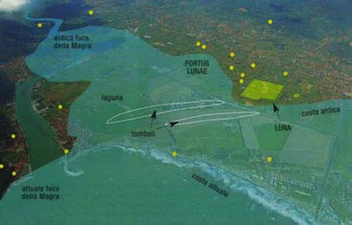Luni, ricostruzione della antica linea di costa e del percorso del fiume Magra