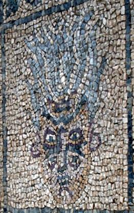 Il mosaico raffigurante il sileno visto da una parte