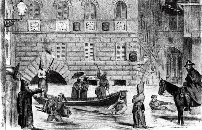 Alluvione del 6 novembre 1864 in un disegno dell'epoca