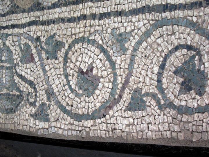 Particolare cornice mosaico dell'Oceano: tralci di edera escono da due brocche