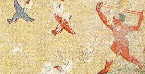 """Tarquinia tomba """"della caccia e della pesca"""" particolare della caccia"""