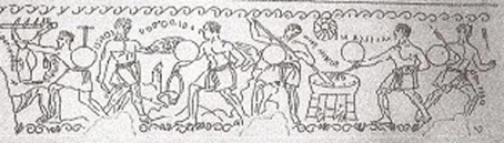 Ricostruzione incisioni sulla cista bronzea rinvenuta a Preneste