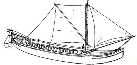 Disegno di un barchetto, un navicello di 7-10 metri per la navigazione fluviale