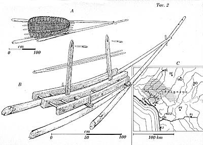 Disegn di una treggia su cui veniva posto un cesto (benna o cibea) per il trasporto dei materiali