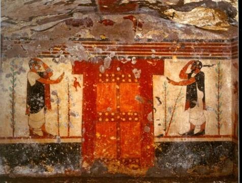 Due aruspici e la porta dell'Ade - Tarquinia, tomba degli auguri (VI sec. a.C.)