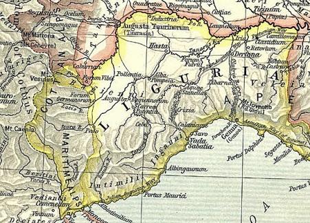La IX regio, il territorio abitato dai Liguri secondo la compartimentazione di Ottaviano