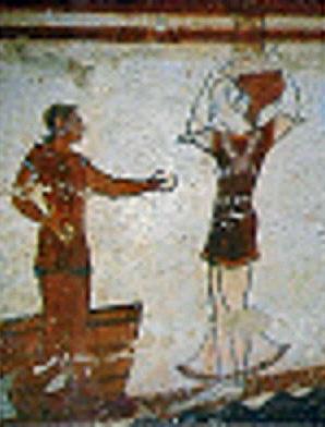 Particolare di affresco della tomba dei giocolieri a Tarquinia (VI secolo a.C.)