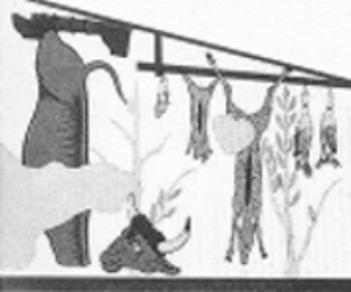 Ricostruzione di una scena del banchetto affrescato all'interno della tomba detta Golini1. Capi di bestiame macellati per il banchetto