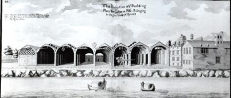 Gli Arsenali medicei in un disegno di Edmund Dummer del XVII secolo
