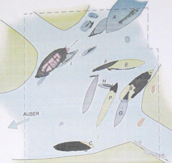 Nel disegno le varie navi in base alla loro posizione di ritrovamento contrassegnate dalla lettera corrispondente