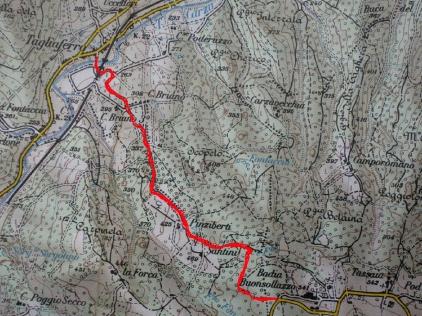 Itinerario sentiero 0-0 nel tratto Tagliaferro - Abbazia Buonsollazzo