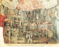 La più antica veduta di Fitenze (particolare dell'affresco della Madonna della Misericordia (Firenze Museo del Bigallo