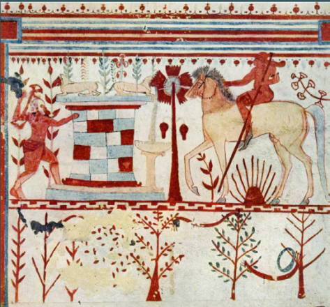 L'agguato di Achille e Troilo tratto dal mito troiano - Tomba dei tori (Tarquinia 540 a.C.)