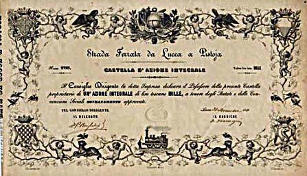 Azione integrale nominativa di 1.000 Lire toscane. Lucca 30 novembre 1848