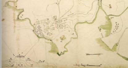 Pianta della rocca e del centro abitato di Capraia del XVIII secolo