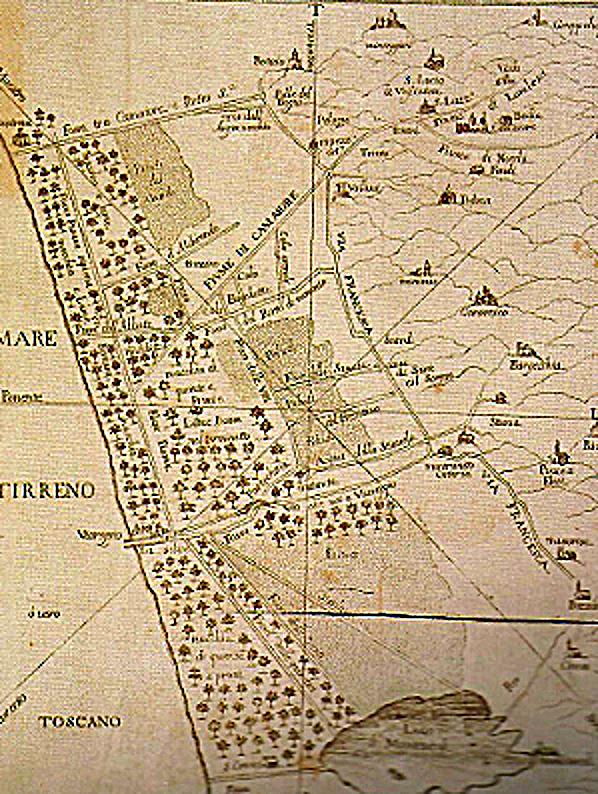 Il Padule fra Viareggio e Massaciuccoli (Stampa della fine del Settecento
