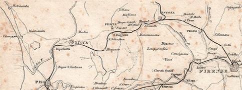 Tracciato della strada ferrata Pisa - Pistoia - Prato - Firenze